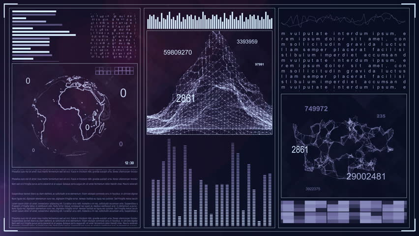 Technology Computer Data Screen GUI. 4k futuristic background. Command Center Interface. Earth rotation, graphs and tables | Shutterstock HD Video #30794176