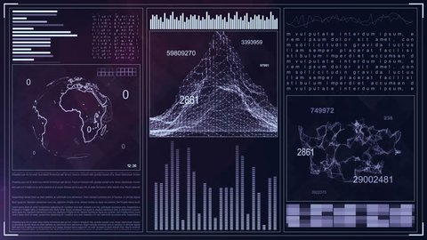 Technology Computer Data Screen GUI. 4k futuristic background. Command Center Interface. Earth rotation, graphs and tables