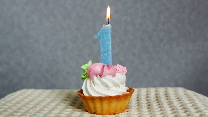 Happy 1st Birthday Cake And Blue Number One Candle