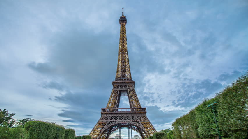 PARIS - CIRCA OCTOBER 2012: Time lapse of Eiffel Tower from day to night circa October 2012 in Paris, France.