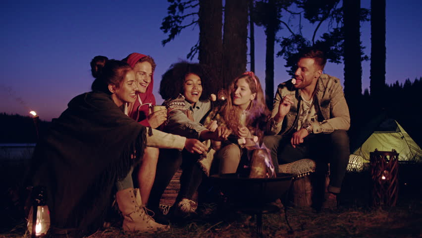 Happy Young Group Of Campers Sitting And Smiling Around Forest Camp Fire In The Evening Roasting Marshmallows And Smiling Camping In Nature Romantic Getaway Concept Slow Motion Shot On Red Epic W 8k #30848386