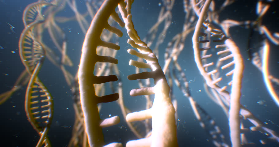 Dna disorder. Strand structure. Science chemistry and medical concept. 4k UHD. Genetic dna damage process. Mutation. Radiation affects dna. High quality 3d animation