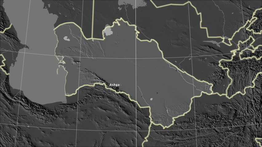 The Turkmenistan area map in the Azimuthal Equidistant projection. Layers of main cities, capital, administrative borders and graticule. Elevation & bathymetry - grayscale contrasted