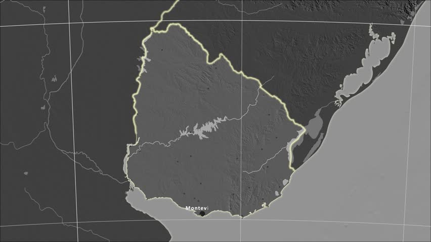 The Uruguay area map in the Azimuthal Equidistant projection. Layers of main cities, capital, administrative borders and graticule. Elevation & bathymetry - grayscale contrasted
