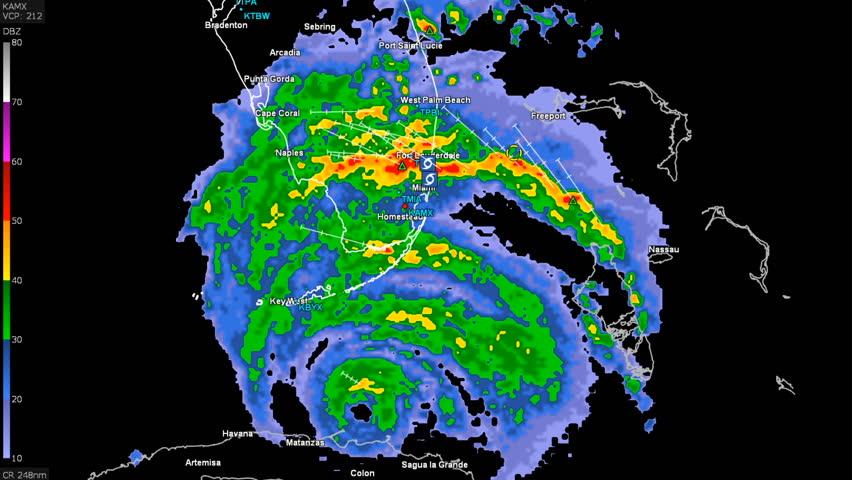 Hurricane Irma On Doppler Weather Radar Over Florida Stock Footage