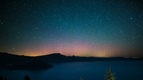 Aurora and Perseid Meteor Shower in Crater Lake National Park Oregon USA