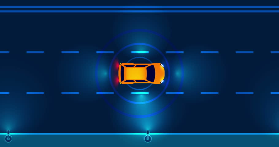 Autonomous smart car driving on road in the night city. Top view on street.  The machine automatically stops at the crosswalk, changes the lane and overtakes city vehicle.