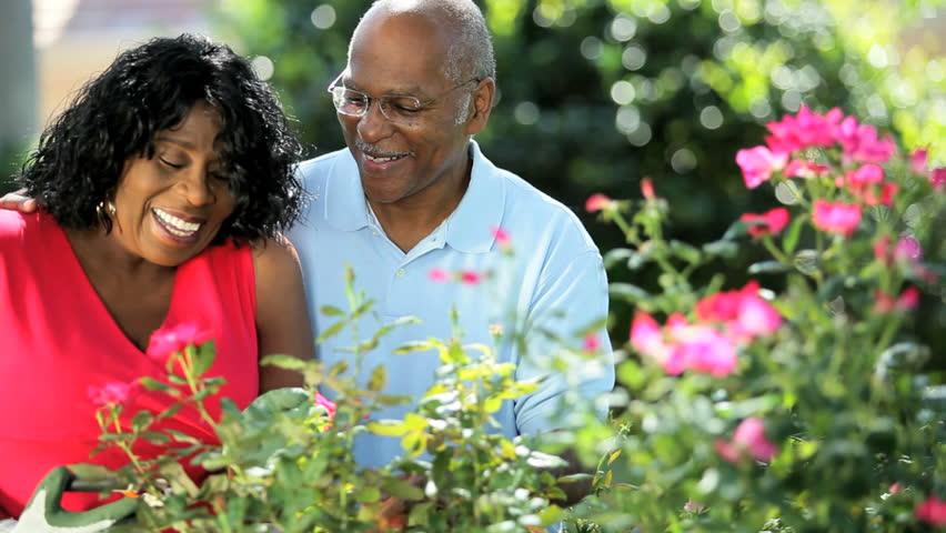 Ethnic retired loving couple enjoying the health benefits