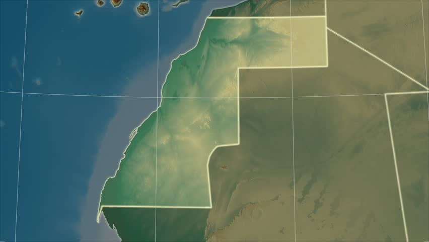 The Western Sahara area map in the Azimuthal Equidistant projection. Layers of main cities, capital, administrative borders and graticule. Relief map