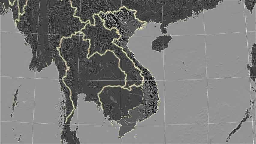 The Vietnam area map in the Azimuthal Equidistant projection. Layers of main cities, capital, administrative borders and graticule. Elevation & bathymetry - grayscale contrasted