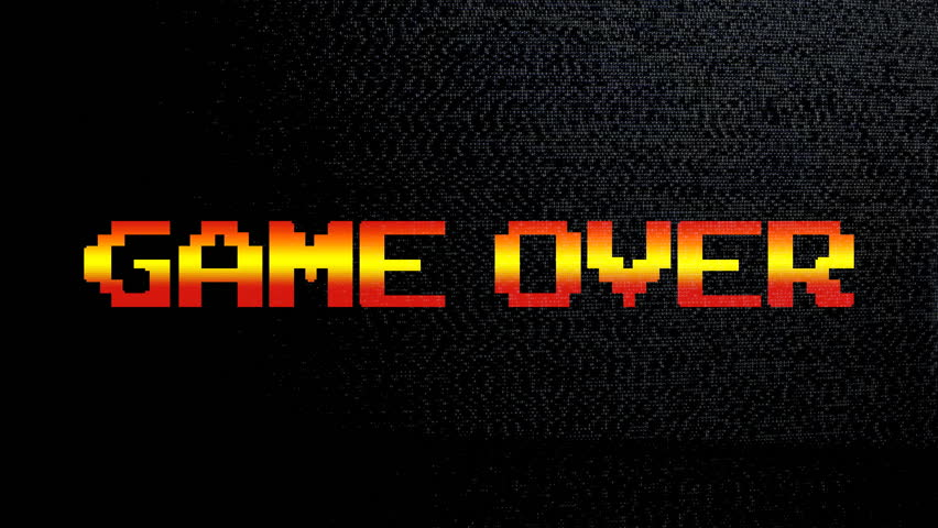 A game over screen (8 bit clean gradient style) with waves of static grainy noise from an old analog tv.