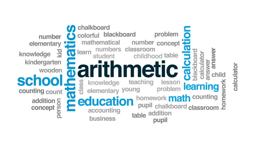 Arithmetic animated word cloud, text design animation.   Shutterstock HD Video #30993376