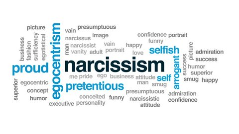 Narcissism animated word cloud, text design animation.