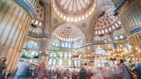 Timelapse of The Blue Mosque interior or Sultanahmet indoors in Istanbul city in Turkey