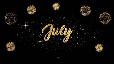 July Christmas Beautiful Golden Greeting Text Appearance From Blinking Particles With Fireworks Background