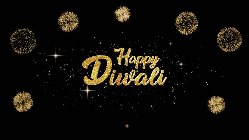 Happy Diwali Beautiful golden greeting Text Appearance from blinking particles with golden fireworks background.