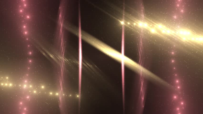 Red and gold stage lights tunnel. Neon lights background disco floodlight with rays on black background. Movement of lasers. VJ Footage seamless loop. For background fashion show