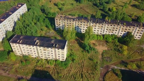 Camera flying on old abandoned military town