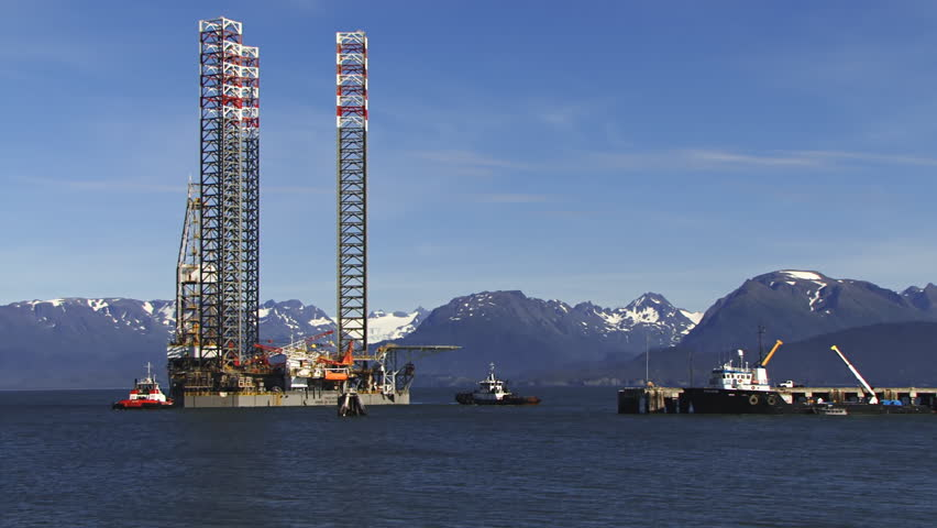 Timelapse of part of the event: Jack up rig Endeavour being towed to the deepwater dock at Homer, Alaska in Kachemak Bay for work preparatory to its deployment in nearby Cook Inlet.