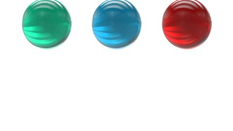 three elastic balls bouncing. with alpha channel