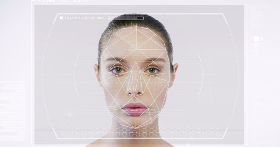 Futuristic and technological scanning of the face of a beautiful woman for facial recognition and scanned person. It can serve to ensure personal safety. Concept of:  future, security, scanning. | Shutterstock HD Video #31120636