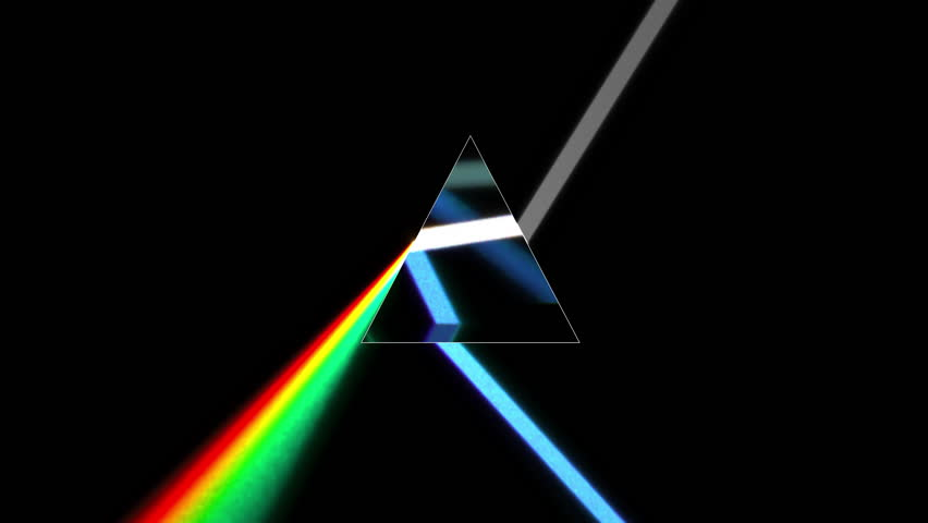 CG animation of prism separating a ray of light into the seven colors of the spectrum. Light source rotates, giving beautiful rainbow effects. Physically correct materials used in this loopable video
