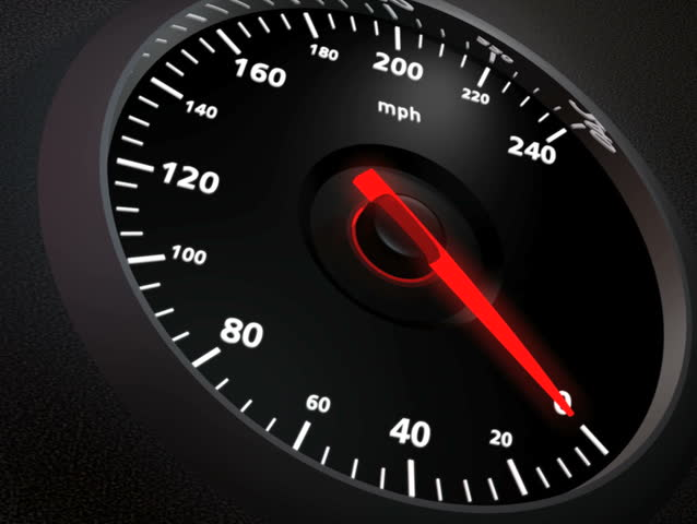 Speedometer, closeup. 0-200 in 15 seconds. NTSC.