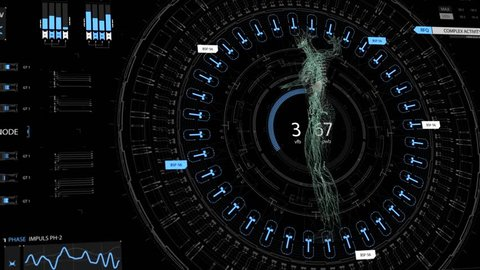 Human anatomy. The anatomical model of a human lymphatic system is rotated around its axis on futuristic head-up display