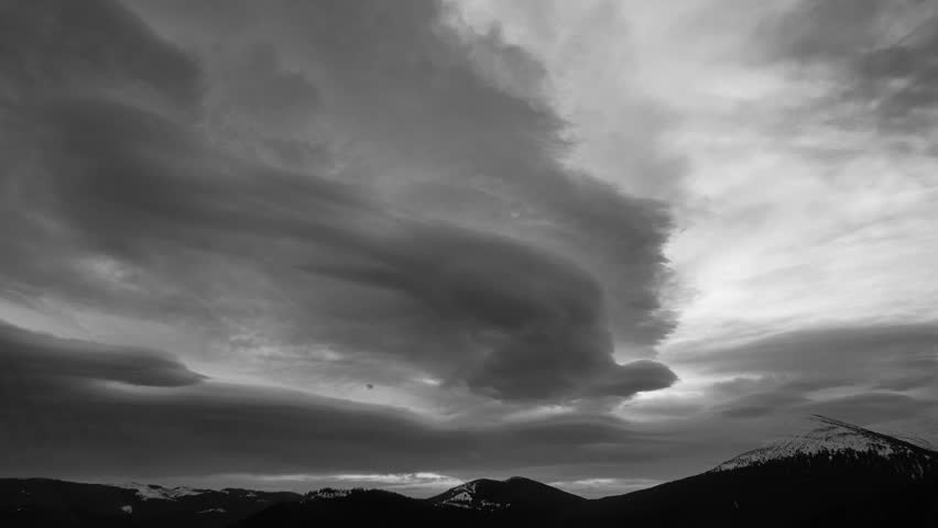 Dark storm clouds are moving fast at viewer - tone time lapse #31186336