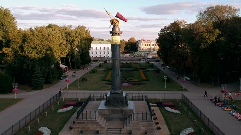 Aerial panoramic view on central park in Poltava city, Ukraine. Sunset, low light footage.