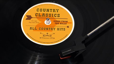 Country Music Record on a turntable.