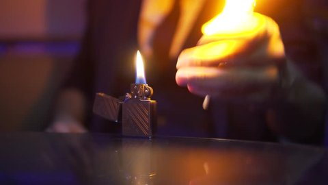Magic Trick with Fire in Dark Room by Professional Mysterious Magician.