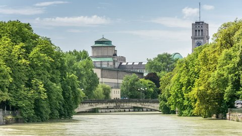 Ludwig bridge over the Isar river in Munich, Germany. Deutsches Museum is in the background.
