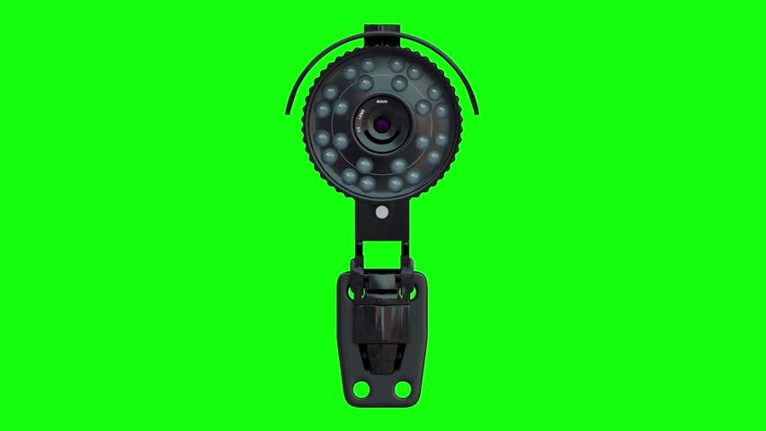 black security camera spinning or rotating on green background 3d rendering #31219756