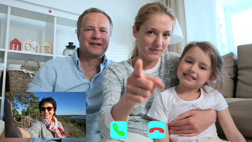 Child Chatting On Internet With Her Mom, Video Chat