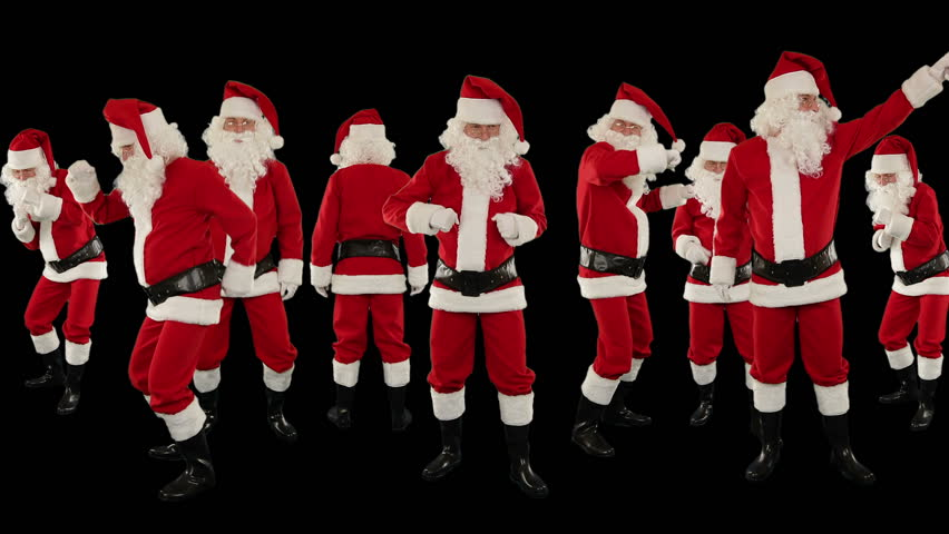 Bunch of Santa Claus Dancing Against Black, Christmas Holiday Background, Alpha Matte | Shutterstock HD Video #3123127
