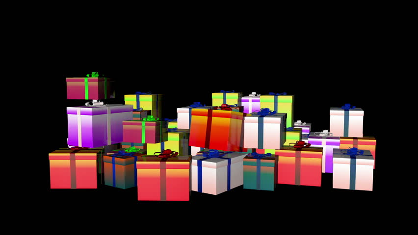 Magically piling up gift boxes, against black