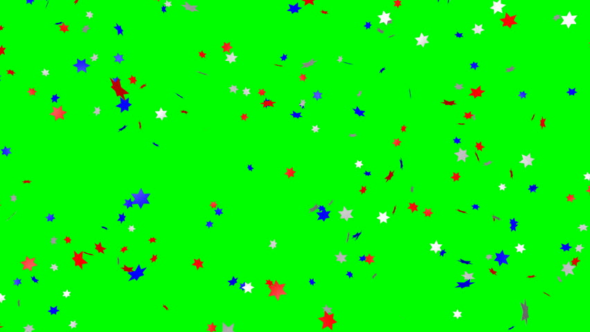 Blue, red and white star confetti (us flag color) - loop, green screen, 4K | Shutterstock HD Video #31252396