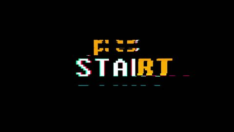 retro videogame press start text words on old tv glitch interference screen ... New quality universal vintage motion dynamic animated background colorful joyful cool video footage