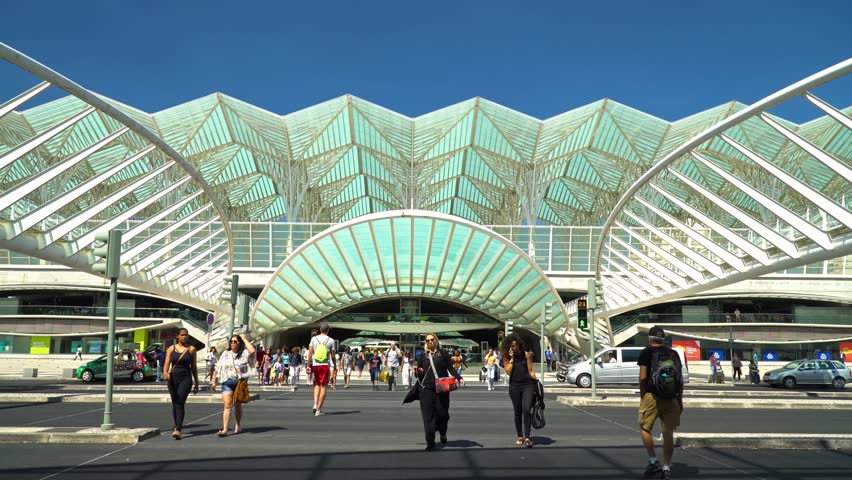 LISBON, PORTUGAL - AUGUST 10, 2017: Gare do Oriente (Lisbon Oriente Station) is one of the main Portuguese intermodal transport hubs located in the civil parish of Parque das Nacoes Lisbon.