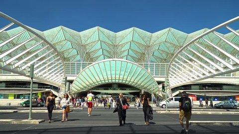 LISBON, PORTUGAL - AUGUST 10, 2017: Gare do Oriente (Lisbon Oriente Station) is one of the main Portuguese intermodal transport hubs located in the civil parish of Parque das Nacoes Lisbon.