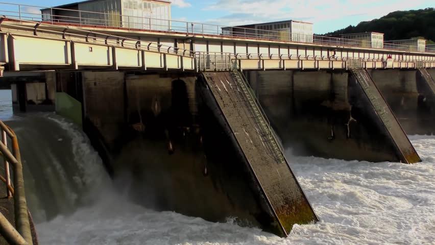 Spillway of the Passau-Ingling hydroelectric dam in Passau, Bayern, Germany