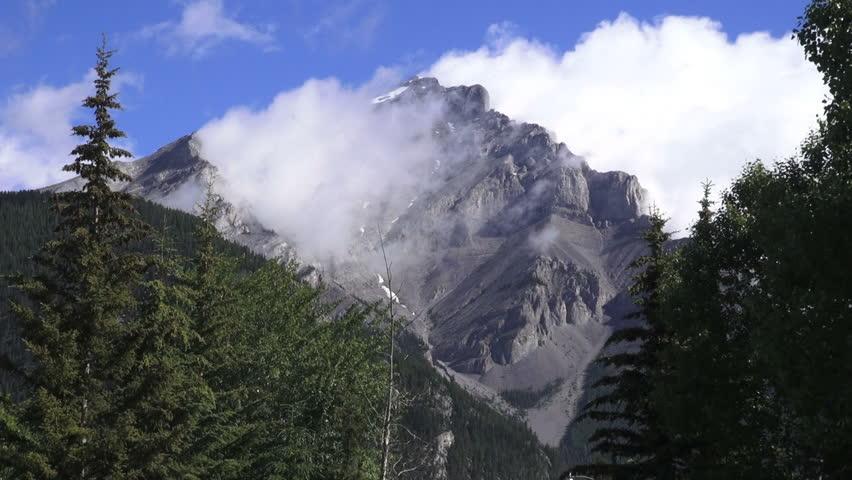 canada alberta banff tunnel mountain above banff time lapse