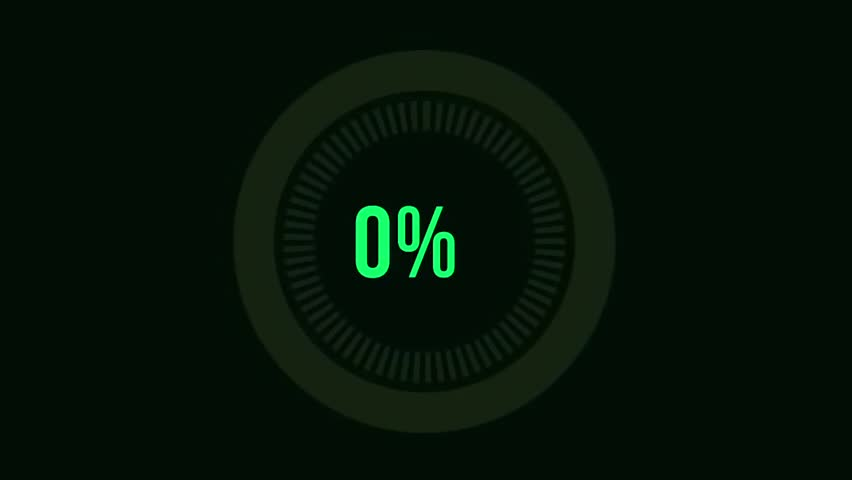 Animation Green loading bar with Alpha channel. 0-100 percent. Green circle. Download Page. Loading Animation - 0-100