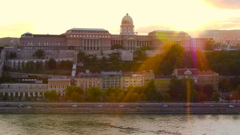 Aerial video shows the Buda Castle in sunset, Budapest, Hungary - drone video