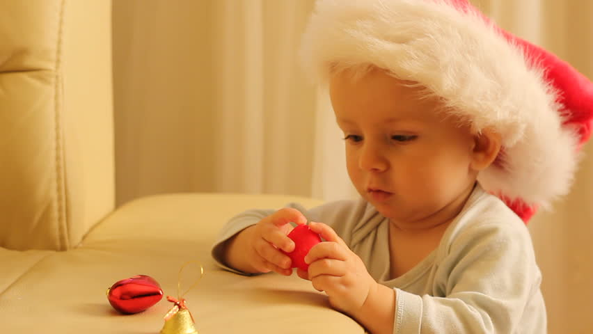 Baby with Santa Cap Playing Stock Footage Video (100% Royalty-free ... 082a5a115791