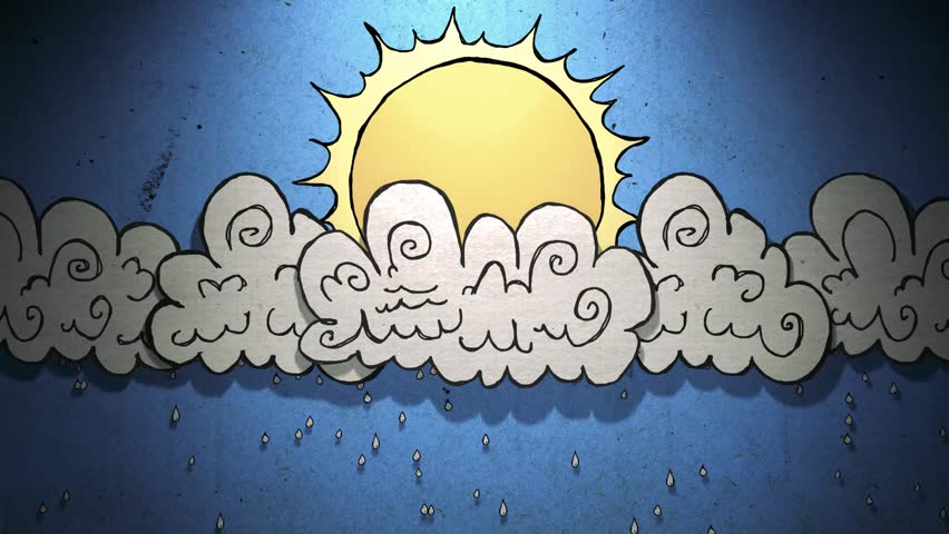 Seamless loop cutout animation of weather. You can see spinning sun behind the couds and rain. Great for your educationa l/ weather / kids related projects. 1080p 60fps