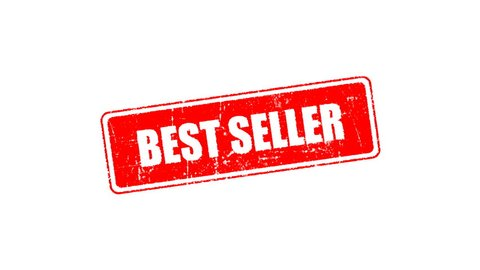 Best seller signed with red ink stamp, red rubber stamp animation of the  word