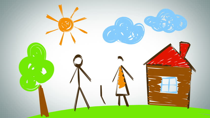 Family drawing, beautiful animation