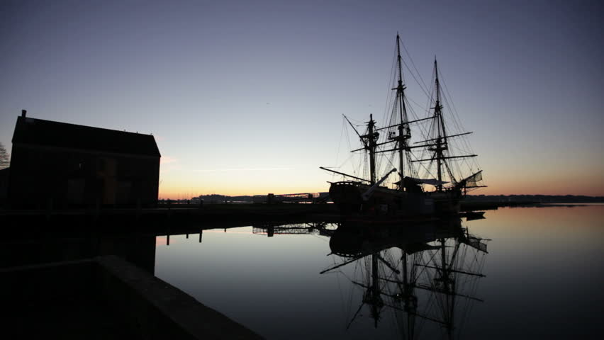 Salem harbor tall ship at sunrise